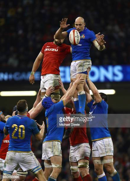 Sergio Parisse of Italy wins a lineout ahead of Taulupe Faletau of Wales during the NatWest Six Nations match between Wales and Italy at Principality...