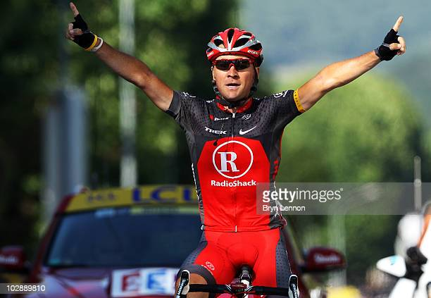 Sergio Paulinho of Portugal and Team Radio Shack crosses the line to win stage ten of the 2010 Tour de France from Chambery to Gap on July 14, 2010...
