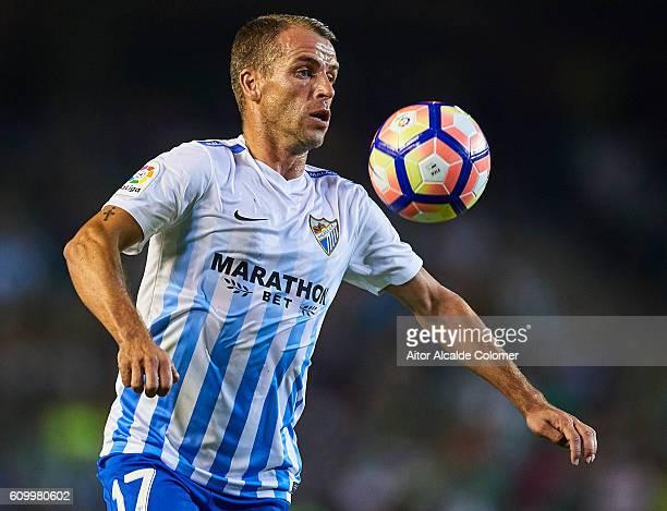 Sergio Paulo Barbosa Duda of Malaga CF in action during the match between Real Betis Balompie vs Malaga CF as part of La Liga at Benito Villamarin...