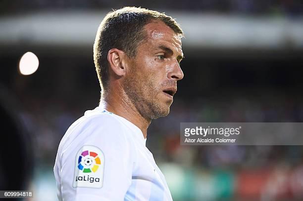 Sergio Paulo Barbosa Duda of Malaga CF looks on during the match between Real Betis Balompie vs Malaga CF as part of La Liga at Benito Villamarin...