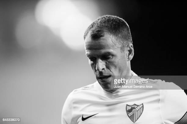 Sergio Paulo Barbosa 'Duda' of Malaga CF reacts during the La Liga match between SD Eibar and Malaga CF at Ipurua Municipal Stadium on February 25...