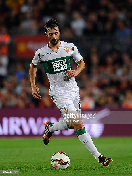 Sergio Pelegrin of Elche CF in action during the La Liga match between FC Barcelona and Elche FC at Camp Nou stadium on August 24 2014 in Barcelona...