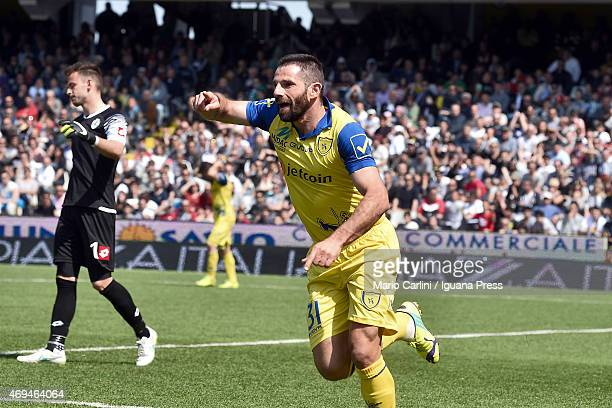 Sergio Pellissier of AC Chievo Verona celebrates after scoring the opening goal during the Serie A match between AC Cesena and AC Chievo Verona at...
