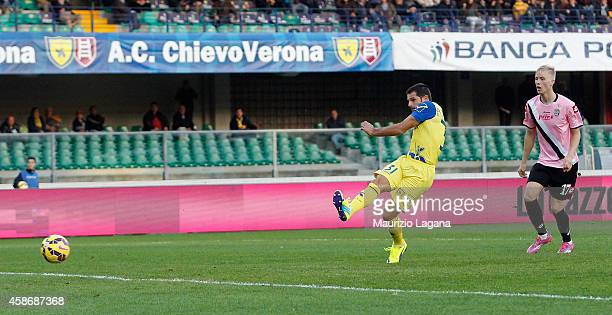 Sergio Pellissier of Chievo scores his team's opening goal during the Serie A match between AC Chievo Verona and AC Cesena at Stadio Marc'Antonio...