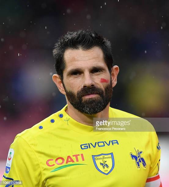 Sergio Pellissier of Chievo Verona before the Serie A match between SSC Napoli and Chievo Verona at Stadio San Paolo on November 25 2018 in Naples...