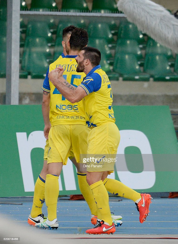 Sergio Pellissier (R) of Chievo Verona celebrates after scoring his opening goal during the Serie A match between AC Chievo Verona and Carpi FC at Stadio Marc'Antonio Bentegodi on April 9, 2016 in Verona, Italy.