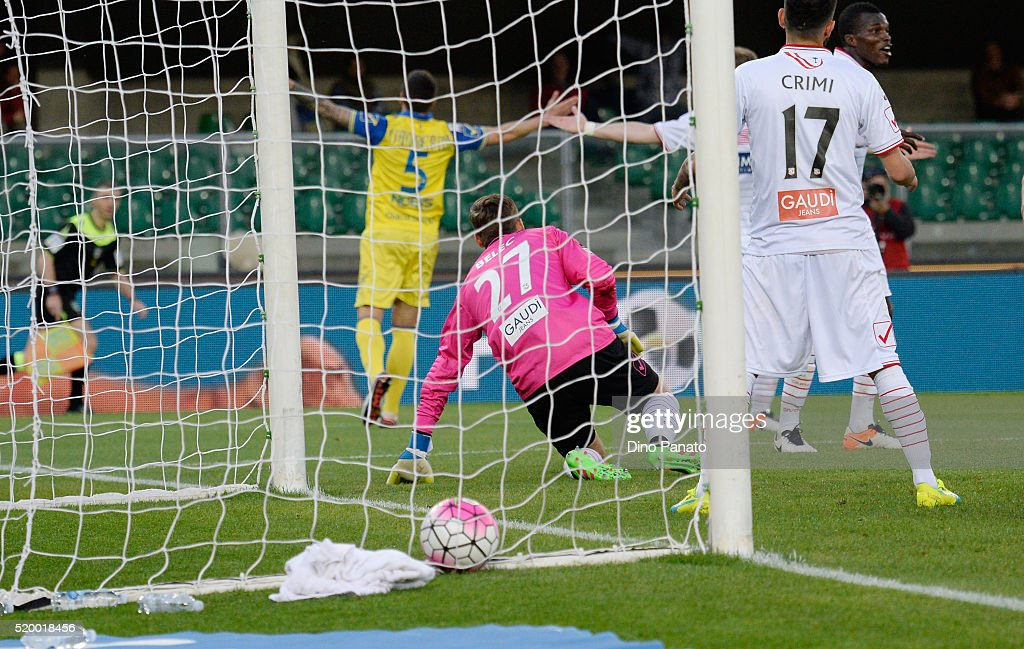 Sergio Pellissier (oscured) of Chievo Verona scores his opening goal during the Serie A match between AC Chievo Verona and Carpi FC at Stadio Marc'Antonio Bentegodi on April 9, 2016 in Verona, Italy.