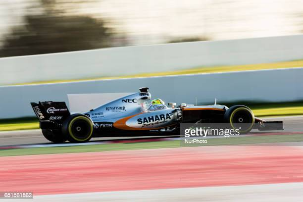 Sergio Perez from Mexico of Force India VJM10 in action during the Formula One winter testing at Circuit de Catalunya on March 10, 2017 in Montmelo,...