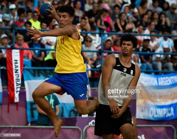 Sergio Perez Manzanares of Spain plays a shot in the Men Gold Medal Match against Portugal during day 7 of Buenos Aires 2018 Youth Olympic Games at...