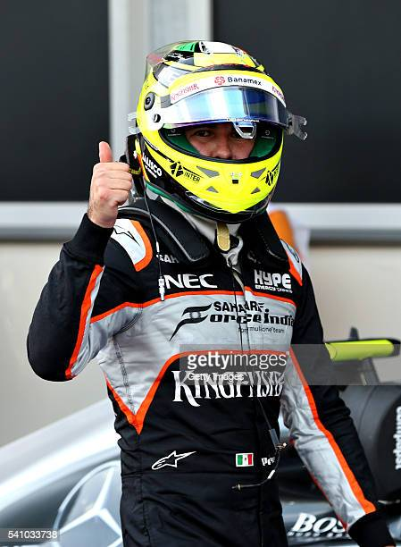 Sergio Perez of Mexico and Force India celebrates qualifying in second position on the grid after qualifying for the European Formula One Grand Prix...