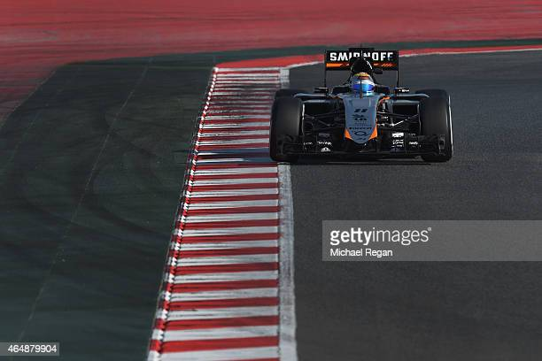 Sergio Perez of Mexico and Force India drives during day four of the final Formula One Winter Testing at Circuit de Catalunya on March 1 2015 in...