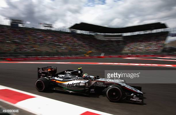 Sergio Perez of Mexico and Force India drives during practice for the Formula One Grand Prix of Mexico at Autodromo Hermanos Rodriguez on October 30...