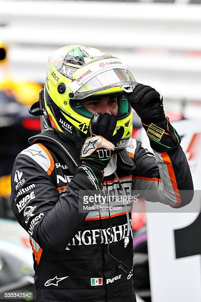 Sergio Perez of Mexico and Force India in parc ferme during the Monaco Formula One Grand Prix at Circuit de Monaco on May 29 2016 in MonteCarlo Monaco
