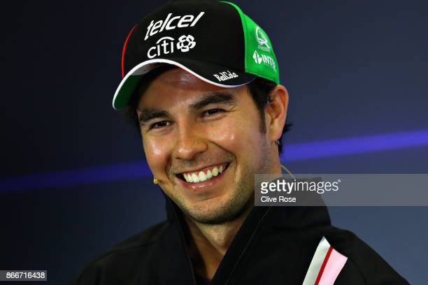 Sergio Perez of Mexico and Force India in the Drivers Press Conference during previews to the Formula One Grand Prix of Mexico at Autodromo Hermanos...