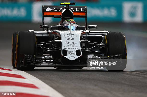 Sergio Perez of Mexico and Force India locks up during qualifying for the Formula One Grand Prix of Mexico at Autodromo Hermanos Rodriguez on October...