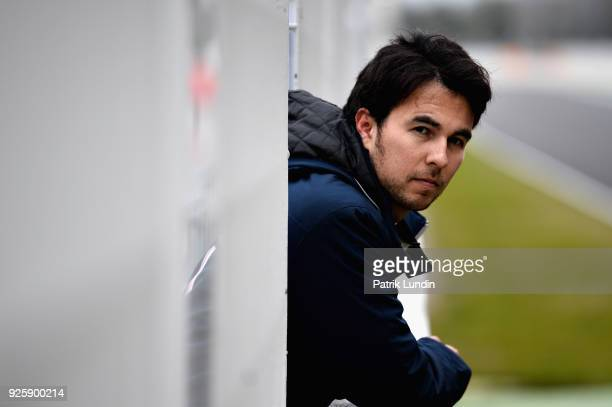 Sergio Perez of Mexico and Force India looks on from the pit wall during day four of F1 Winter Testing at Circuit de Catalunya on March 1 2018 in...