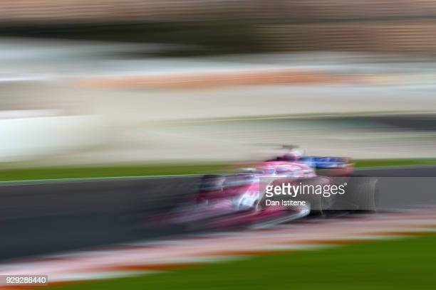 Sergio Perez of Mexico and Force India on track during day three of F1 Winter Testing at Circuit de Catalunya on March 8 2018 in Montmelo Spain