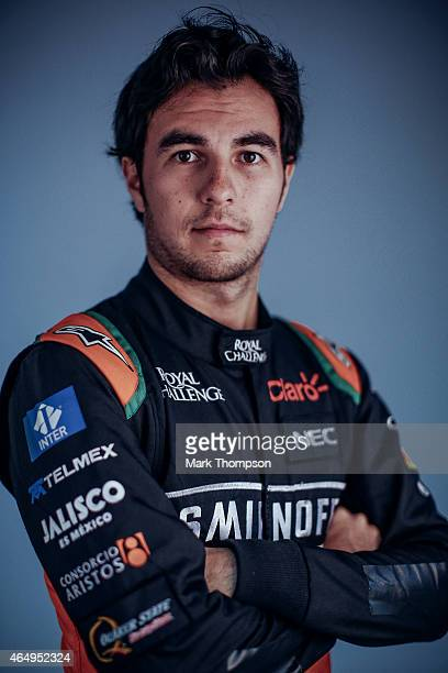 Sergio Perez of Mexico and Force India poses for a portrait during day three of Formula One Winter Testing at Circuit de Catalunya on February 21...