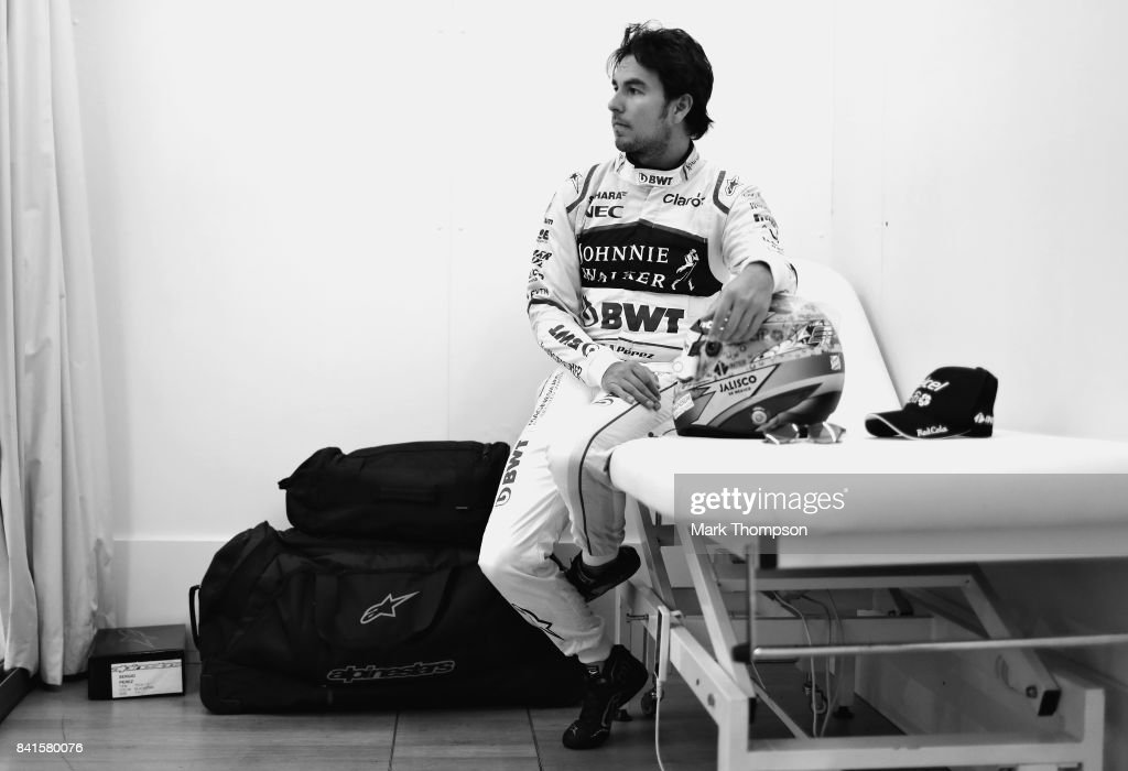 Sergio Perez of Mexico and Force India prepares to drive during previews for the Formula One Grand Prix of Italy at Autodromo di Monza on August 31, 2017 in Monza, Italy.