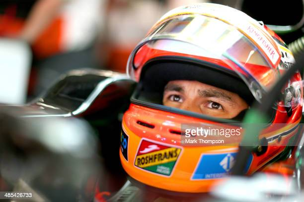 Sergio Perez of Mexico and Force India prepares to drive during practice ahead of the Chinese Formula One Grand Prix at the Shanghai International...
