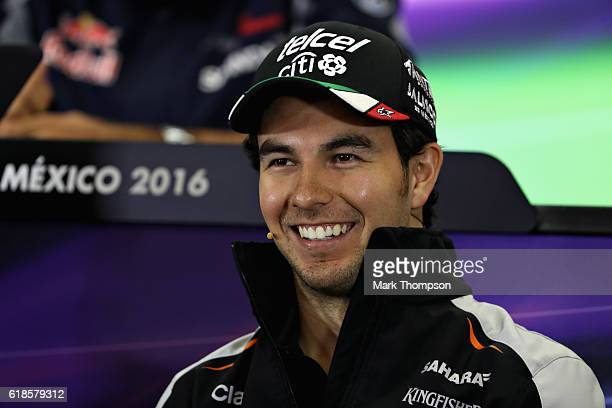 Sergio Perez of Mexico and Force India talks in the Drivers Press Conference during previews to the Formula One Grand Prix of Mexico at Autodromo...