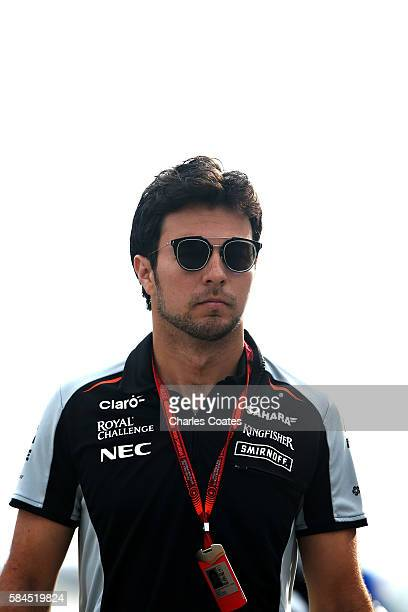 Sergio Perez of Mexico and Force India walks in the Paddock during practice for the Formula One Grand Prix of Germany at Hockenheimring on July 29...