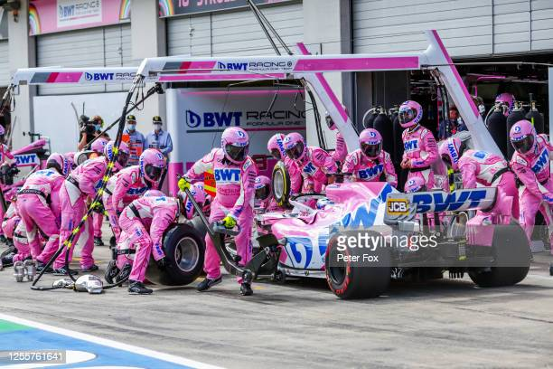 Sergio Perez of Mexico and Racing Point during the Formula One Grand Prix of Styria at Red Bull Ring on July 12, 2020 in Spielberg, Austria.