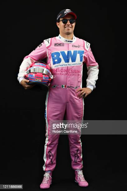 Sergio Perez of Mexico and Racing Point poses for a photo in the Paddock during previews ahead of the F1 Grand Prix of Australia at Melbourne Grand...