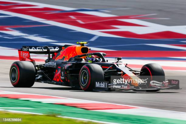Sergio Perez of Mexico and Red Bull Racing during final practice ahead of the F1 Grand Prix of USA at Circuit of The Americas on October 23, 2021 in...