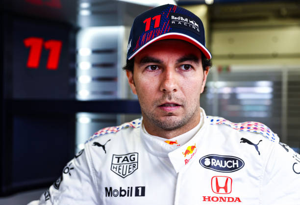 Sergio Perez of Mexico and Red Bull Racing has a seat fitting in the garage during previews ahead of the F1 Grand Prix of Turkey at Intercity...
