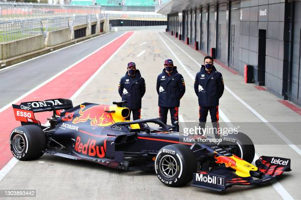 Sergio Perez of Mexico and Red Bull Racing, Max Verstappen of Netherlands and Red Bull Racing and Alexander Albon of Thailand and Red Bull Racing...