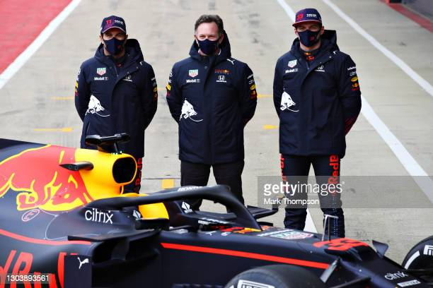 Sergio Perez of Mexico and Red Bull Racing, Max Verstappen of Netherlands and Red Bull Racing and Red Bull Racing Team Principal Christian Horner...