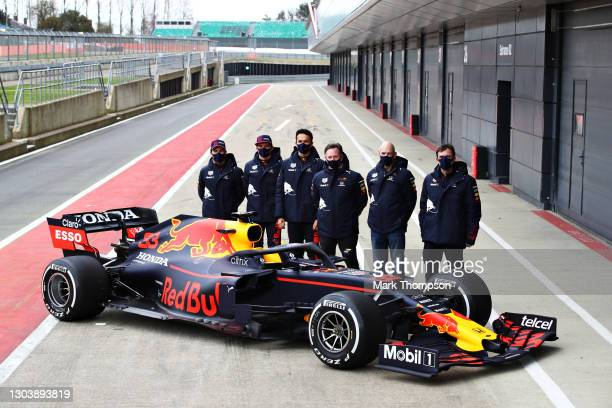 Sergio Perez of Mexico and Red Bull Racing, Max Verstappen of Netherlands and Red Bull Racing, Alexander Albon of Thailand and Red Bull Racing, Red...