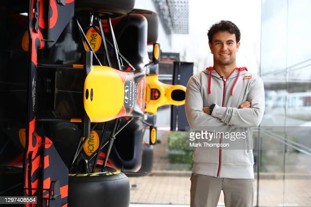 Sergio Perez of Mexico and Red Bull Racing poses for a photo at Red Bull Racing Factory on January 11, 2021 in Milton Keynes, England.