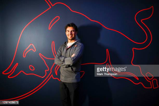 Sergio Perez of Mexico and Red Bull Racing poses for a photo at Red Bull Racing Factory on January 15, 2021 in Milton Keynes, England.