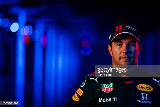 Sergio Perez of Mexico and Red Bull Racing poses for a photo during the Red Bull Racing Filming Day at Silverstone on February 24, 2021 in...