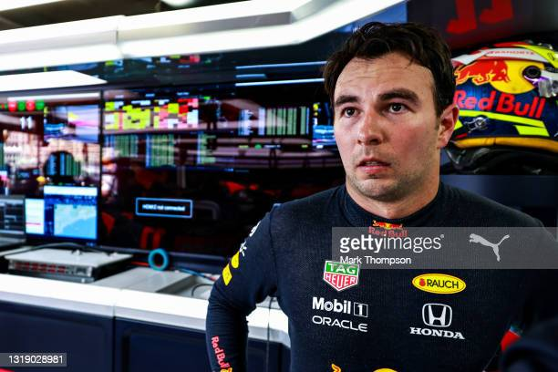 Sergio Perez of Mexico and Red Bull Racing prepares to drive during practice ahead of the F1 Grand Prix of Monaco at Circuit de Monaco on May 20,...