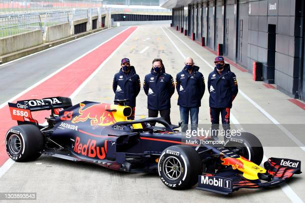 Sergio Perez of Mexico and Red Bull Racing, Red Bull Racing Team Principal Christian Horner, Adrian Newey, the Chief Technical Officer of Red Bull...