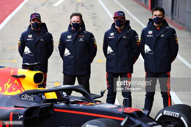 Sergio Perez of Mexico and Red Bull Racing, Red Bull Racing Team Principal Christian Horner, Max Verstappen of Netherlands and Red Bull Racing and...