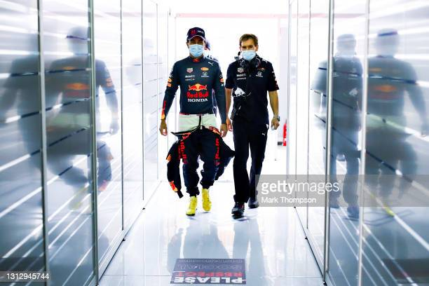Sergio Perez of Mexico and Red Bull Racing walks in the garage during final practice ahead of the F1 Grand Prix of Emilia Romagna at Autodromo Enzo e...