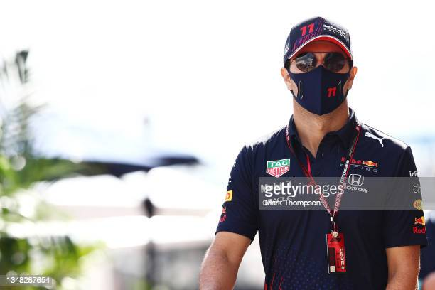Sergio Perez of Mexico and Red Bull Racing walks in the Paddock before final practice ahead of the F1 Grand Prix of USA at Circuit of The Americas on...