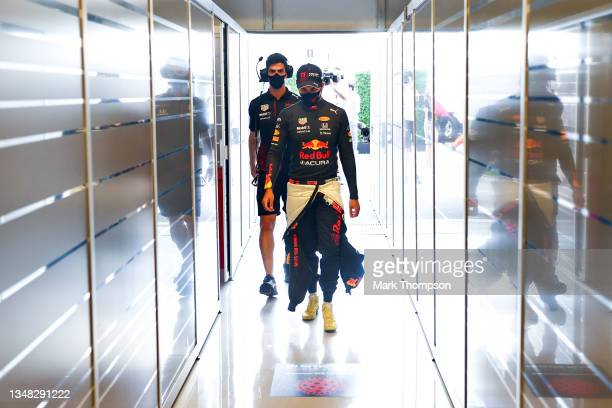 Sergio Perez of Mexico and Red Bull Racing walks into the garage during qualifying ahead of the F1 Grand Prix of USA at Circuit of The Americas on...