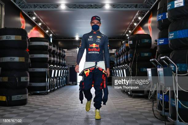 Sergio Perez of Mexico and Red Bull Racing walks to the garage during final practice ahead of the F1 Grand Prix of Austria at Red Bull Ring on July...