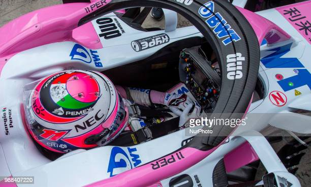 Sergio Perez of Mexico and Sahara Force India driver goes during the qualification at Austrian Formula One Grand Prix on Jun 30 2018 in Red Bull Ring...