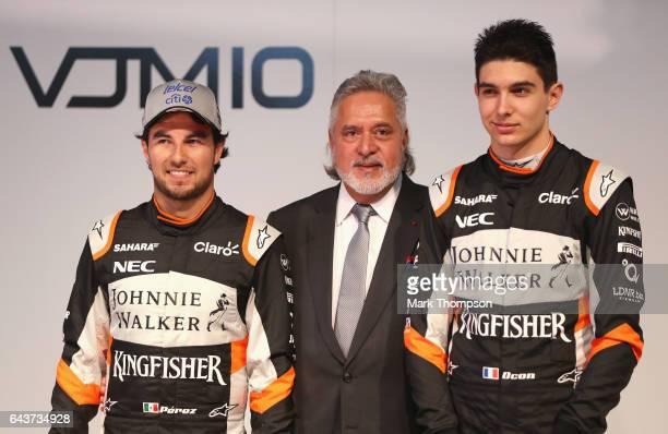 Sergio Perez of Mexico and Sahara Force India Vijay Mallya Team Principal and Managing Director and Esteban Ocon of France and Sahara Force India...