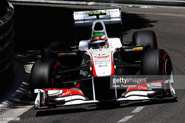 Sergio Perez of Mexico and Sauber F1 drives during the final qualifying session prior to qualifying for the Monaco Formula One Grand Prix at the...