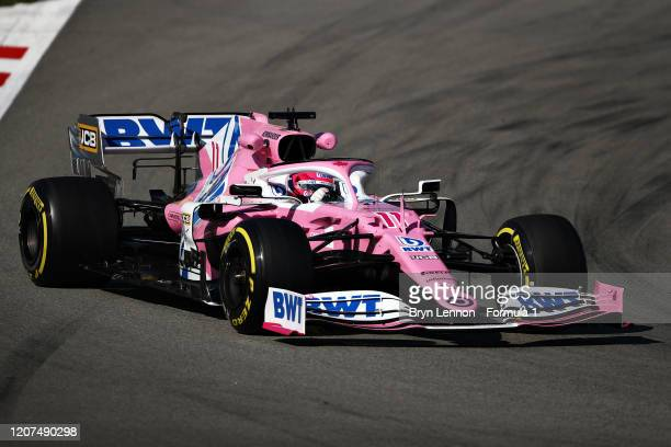 Sergio Perez of Mexico driving the Racing Point RP20 Mercedes on track during day two of F1 Winter Testing at Circuit de BarcelonaCatalunya on...