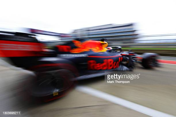 Sergio Perez of Mexico driving the Red Bull Racing RB15 Honda at Silverstone on February 23, 2021 in Northampton, England.