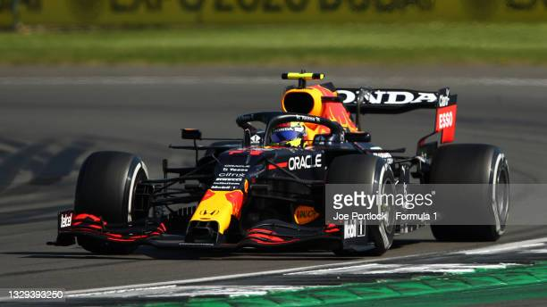 Sergio Perez of Mexico driving the Red Bull Racing RB16B Honda during the F1 Grand Prix of Great Britain at Silverstone on July 18, 2021 in...