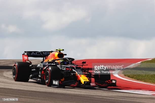 Sergio Perez of Mexico driving the Red Bull Racing RB16B Honda during final practice ahead of the F1 Grand Prix of USA at Circuit of The Americas on...